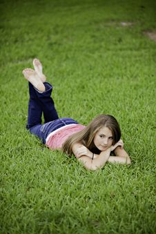 Free Teenage Female Girl On Grass Stock Photography - 20502322