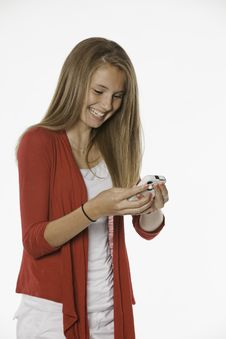 Free Laughing Teenage Female Girl And Cell Phone Stock Photography - 20502392