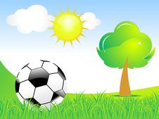 Free Abstract Football With Green Grass & Tree Stock Image - 20502431