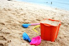 Toys On Sand Royalty Free Stock Photography