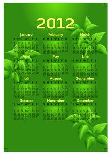 Free Creative 2012 Calender Template Stock Image - 20503501
