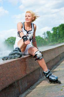 Free Roller Blonde Girl Resting Stock Image - 20504541