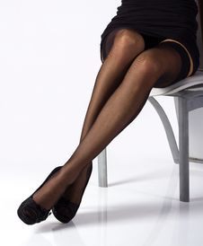 Free Sexy Legs In Black Stockings Royalty Free Stock Photos - 20505488