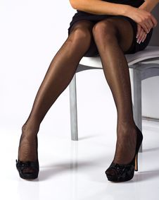 Free Sexy Legs In Black Stockings Stock Images - 20505514