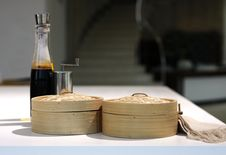 Free Bottle Of Balsamic Vinegar And Wooden Boxes Stock Photos - 20506123