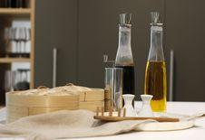 Bottles Of The Olive Oil And Balsamic Vinegar Stock Photo