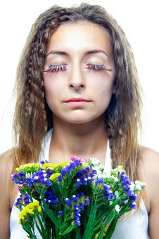 Free Beautiful  Woman Face With Flowers Stock Photos - 20506313