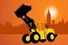 Free Silhouette Of The Bulldozer Royalty Free Stock Image - 20507656