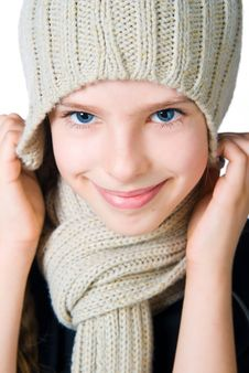 Free Little Girl In Cap And Scarf Royalty Free Stock Image - 20507786