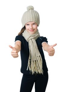 Little Girl In Cap And Scarf Stock Photos