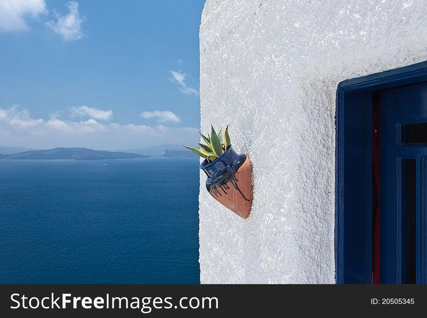Ceramic flower pot against white wall