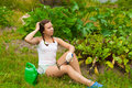 Free Young Woman In Kitchen-garden Royalty Free Stock Photos - 20510868