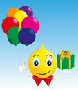 Free Smiley Boy With Gift And Balloons Stock Photography - 20516772