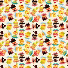 Free Seamless Cake Pattern Royalty Free Stock Photos - 20510398