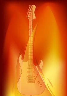Free Guitar In Orange Flame Illustration Royalty Free Stock Photos - 20510758