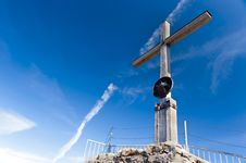 Nebelhorn Summit Cross Royalty Free Stock Photography