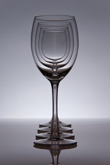Free Four Empty Wine Glasses In Line Stock Photos - 20511543