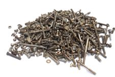 Pile Of Old  Screws Royalty Free Stock Photography