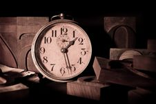 Free Clock In A Old Typography Stock Image - 20511851
