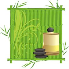 Free Spa Oil In The Bamboo Frame Stock Image - 20512641