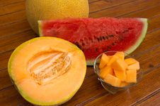 Free Cantaloupe And Watermelon Royalty Free Stock Images - 20513459