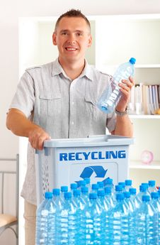 Free Recycling Man With Bottles Stock Photography - 20513732