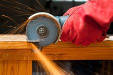 Free Cutting Steel With A Small Grinder Royalty Free Stock Photography - 20514227