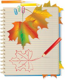Free Autumn Leaves In School Notebook Stock Photography - 20514872