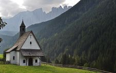 THE SMALL CHURCH OF Dolomites Royalty Free Stock Image