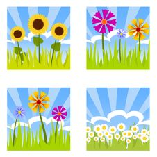 Four Flower Buttons Royalty Free Stock Photos