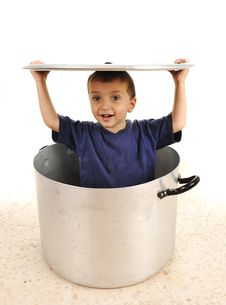 Free Cute Child In Pot Royalty Free Stock Photography - 20515797