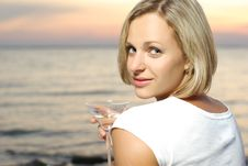 Free Portrait Of A Beautiful Woman With Cocktail Stock Photography - 20516232