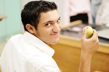 Free Student In Collage With An Apple Stock Images - 20516274