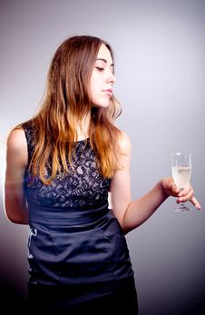 Free Young Beautiful Woman Drinks Wine Stock Images - 20516844