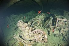Free Motorbikes Inside A Large Shipwreck Stock Photography - 20517522