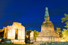Free Ruin Pagoda In Ayutthaya In Twilight Stock Photos - 20518213