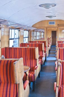 Free Old Railway Carriage In Red Striped Seats Royalty Free Stock Photos - 20518458