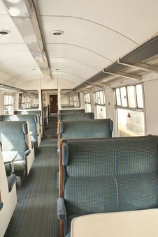 Old Railway Carriage With Green Seats Stock Image