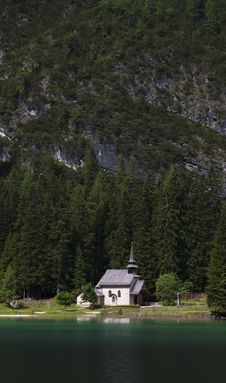 Chapel At The Mountain Lake Stock Photo