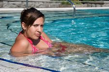 Free Beautiful Girl In The Swimming Pool Royalty Free Stock Image - 20520436