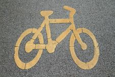 Free Bicycle Sign On Bicycle Lane Stock Photos - 20520723
