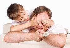 Free Dad With Son With Controller Royalty Free Stock Photography - 20522987