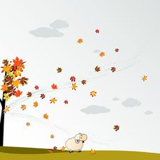 Free Cludy Autumn Background With Leaves Royalty Free Stock Image - 20524276