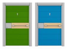 Green And Blue Armored Door Royalty Free Stock Photography