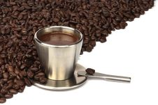 Free Coffee Cup With Coffee Beans Stock Photos - 20525113