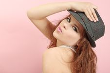 Woman In The Hat Stock Photo