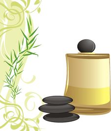 Free Spa Oil, Black Stones And Sprig Stock Photos - 20525703