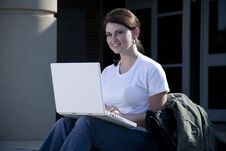 Free Female Student With Laptop Computer Royalty Free Stock Photography - 20526107
