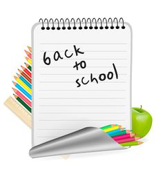Back To School. Notepad With School Supplies. Stock Photo