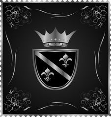 Free Vintage Post Mark With Silver Heraldic Elements Royalty Free Stock Photo - 20528905